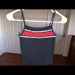 cotton on navy blue top with red stripe size XS